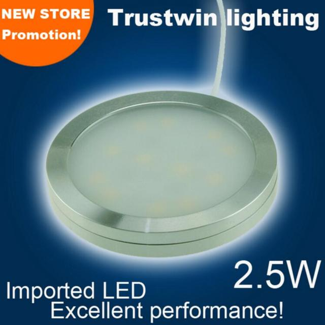 4 pcs/lot 3W high brightness SMD ultra slim round led cabinet light 12v round flat surface under showcase kitchen puck light