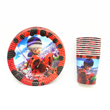 Miraculous Ladybug Birthday Disposable Party Set Kids Cartoon Happy Birthday Decorations Baby Plate Cup Party Supplies 20Pcs