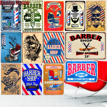 20x30cm BARBER Shop Vintage Metall Zinn Zeichen Bar Cafe Dekoration Plaque Shop Billboard Haarschnitte Wand Kunst Poster home Aufkleber(China)