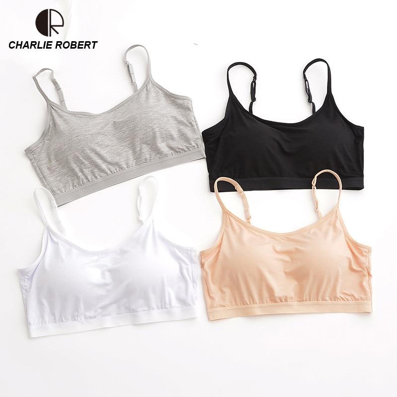 CR Summer Crop Top Women Modal Build in Bra Solid Plus Size T Shirt Women Padded Bra spaghetti strap Top Vest Drop Shipping