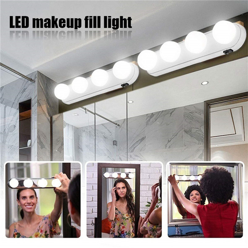 4 Bulbs Mirror Light Battery Wall Lamp 5500K Mirror Lamps Switch Led Makeup Vanity Light Kit Bathroom Front Table Make Up Lights