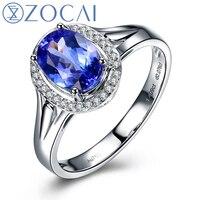 ZOCAI BRAND 1 0 CT TANZANITE With 0 07 CT DIAMOND WOMAN Tanzanite Engagement Romantic RING