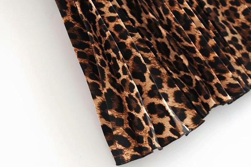 2019 Leopard Pleated Skirt with Bow Belt High Street Women Animal Print Midi Skirts 12