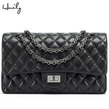 HMILY женская сумка-мессенджер из натуральной кожи, роскошная женская сумка на плечо, сумка через плечо с цепочками, женская сумка с ромбовидной решеткой