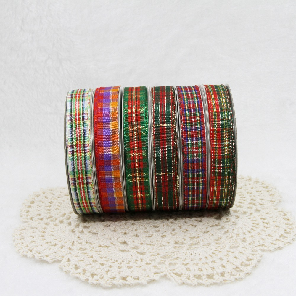 20yards/lot 9/16/25/38mm Multiple Styles Scottish Plaid Gingham Tartan Ribbon DIY Home Decoration Gift Wrapping Christmas
