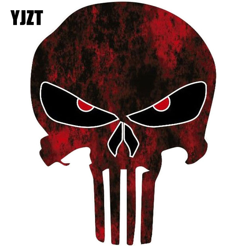 YJZT 10.6CMX14CM PUNISHER SKULL Red Fun Reflective Car Stickers Motorcycle Accessories C1-6033 image