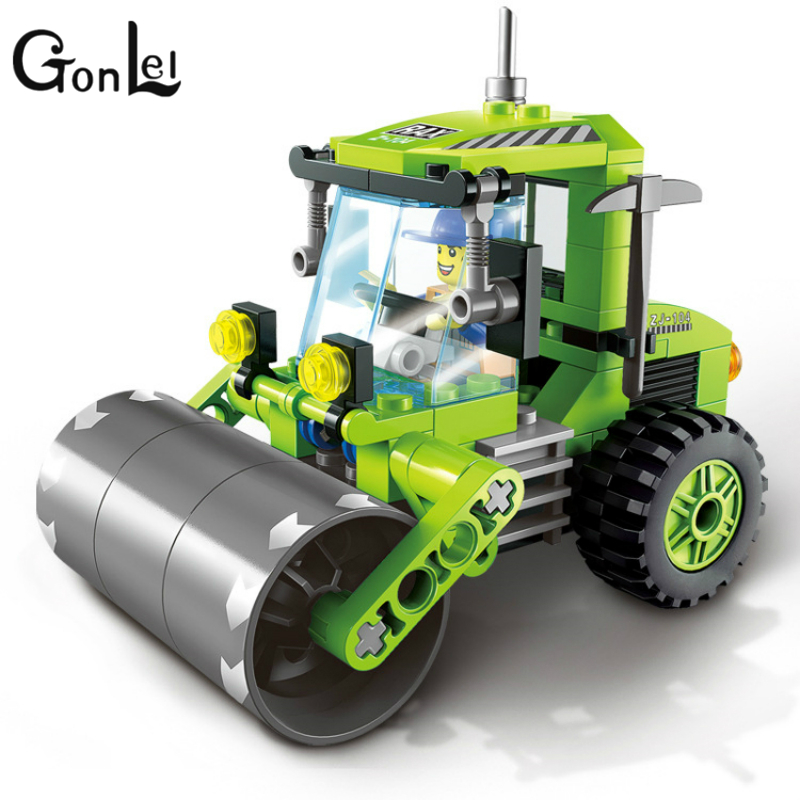 GonLeI City Series Forklift Truck Tractor Sweeper Truck Construction Road Roller Building Block Kids Toy with City