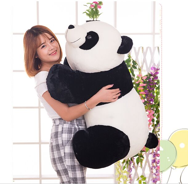 stuffed plush toy huge 95cm prone panda doll soft throw pillow birthday gift b0487 lovely giant panda about 70cm plush toy t shirt dress panda doll soft throw pillow christmas birthday gift x023