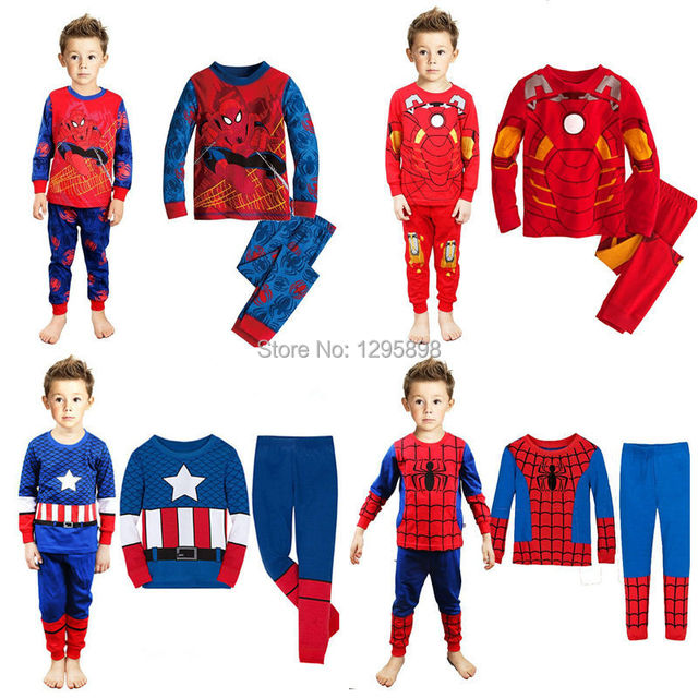 5748efe899f Iron man 100% cotton children s clothing Captain America pajamas baby and  kids clothes spider-man pyjamas casual night suit
