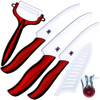 Ceramic Knife 5 Inch Slicing Knife 6 Inch Chef Knife And One Sharp White Blade Red