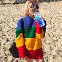 HirsionsanสีPatchworkสายรุ้งเสื้อกันหนาวผู้หญิงHarajukuถักP Ulloversฤดูใบไม้ร่วงใหม่วินเทจTops Oคอหลวมจัมเปอร์