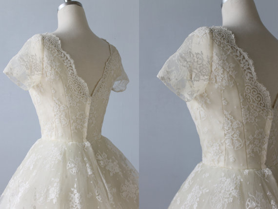 Actual Image Short Lace Sleeve Tea Length Wedding Dresses 1950\'s ...
