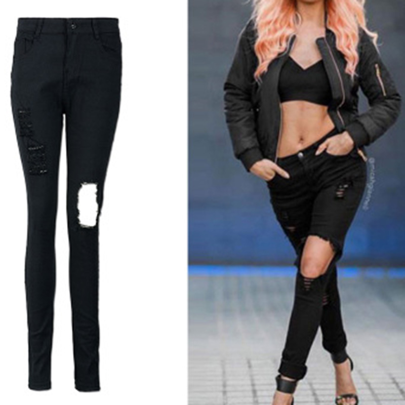 Autumn Fashiopn Hole Ripped Jeans Women Black Denim Jeans Pants High Waist Slim Stretch Pencil Pants Vintage Cotton Denim Pants autumn new fashion cotton jeans women loose low waist washed vintage big hole ripped long denim pencil pants casual girl pants