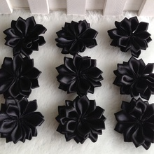 30pcs 35mm Black Double Ribbon Flowers Handmade Apparel Accessories Sewing Appliques DIY Crafts A650