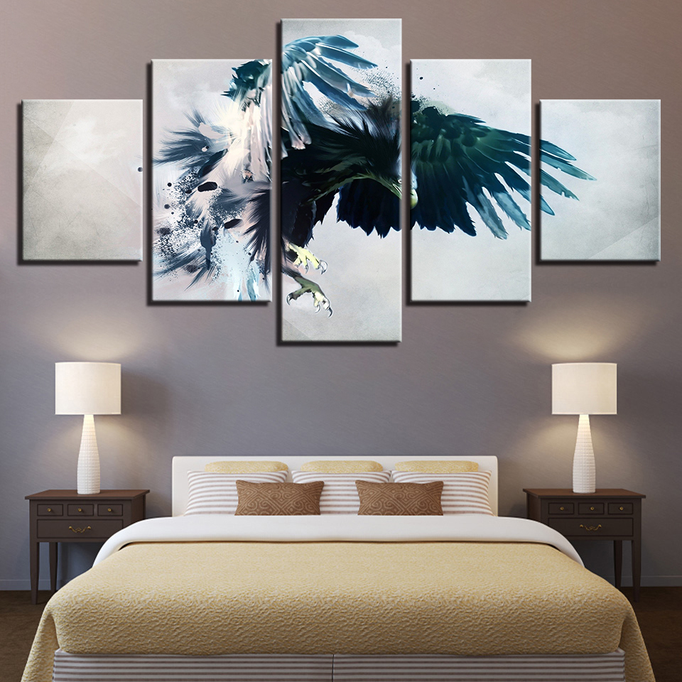 Canvas Modern Living Room Framework HD Home Decoration 5 Panel Animal Eagle Pictures Painting Modular Wall Art Printed Poster in Painting Calligraphy from Home Garden