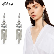 2016 Long Vintage Tassel Earings Fashion Women Jewelry Big Drop Crystal Antique Silver Stud Ethnic Dangle Costume Drop Earring