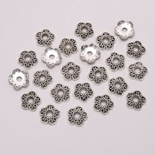 50pcs/Lot 11mm Silver Peach Heart Flower Beads Caps End Receptacle Torus Spaced Apart Bead For DIY Jewelry Making