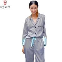 New Style Women Faux Silk Striped Pajamas Sets 2017 Spring Summer Design Elegant Female Satin Pajamas