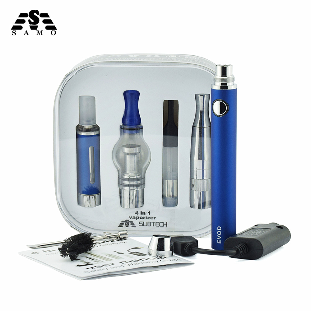 10PCS/lot 4 in 1 Vaporizer Electronic cigarette kit Baterry and 4 Atomizers for e liquid Wax CBD oil Dry herb vaporizer
