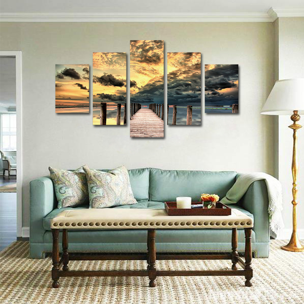 Unframed 5 panel HD Canvas Wall Art Giclee Painting Sunset Seascape Landscape For Living Room Home Decor Unframed