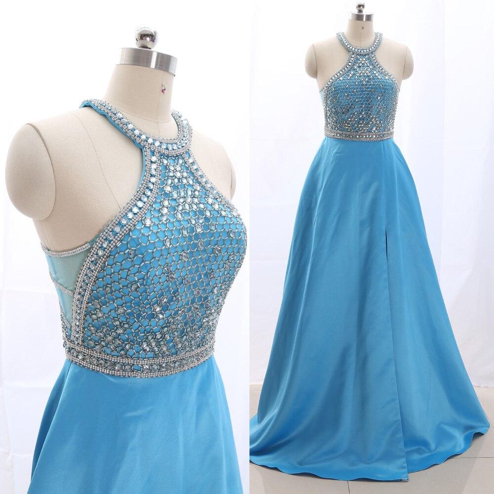 MACloth Sky Blue A-Line Halter Floor-Length Long Crystal Tulle   Prom     Dresses     Dress   M 265620 Clearance