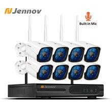 Jennov 8CH Âm Thanh Hệ Thống Camera An Ninh Wifi Giám Sát Video 2MP 1080P Camera Quan Sát Hệ Thống Camera NVR Kit HDMI Tầm Nhìn Ban Đêm cam Ip