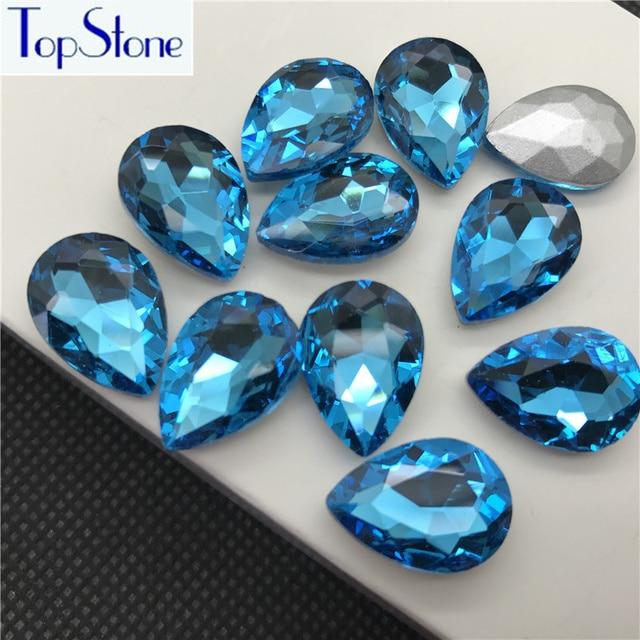 Aquamarine Color TEARDROP Glass Crystal POINTED BACK Rhinestones 5x8 ... 768426762ec4