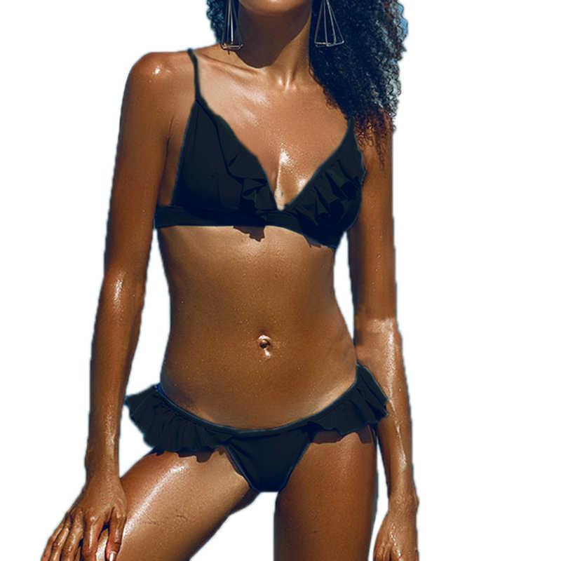Пуш-ап 2019 бикини купальник дизайн агаровое кружево одежда для плавания женский простой сплошной цвет купальник бикини набор купальный костюм