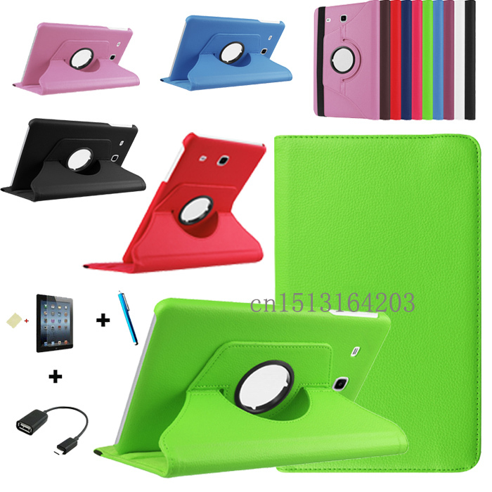 Fashion 360 Degree Rotating Leather Cover Case for Samsung Galaxy Tab E 9.6 T560 T561 Tablet Case+Screen Protector+OTG+Pen 360 rotating flip leather stand cover tablet case for samsung galaxy tab e 9 6 t560 t561 with tpu x line case screen film stylus