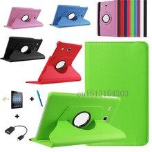 Moda 360 grados que giran la cubierta de cuero para samsung galaxy tab e 9.6 t560 t561 tablet case + protector de pantalla + otg + pen