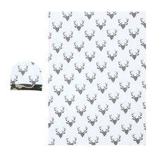2pcs Newborn Infant Baby Soft Warm Cotton Deer Pattern Swaddle Blanket Hat Boy Coming Home
