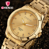 CHENXI Fashion Men Dress Business Watch Men S Luxury Gold Quartz Waterproof Simple Diamond Analog Watches