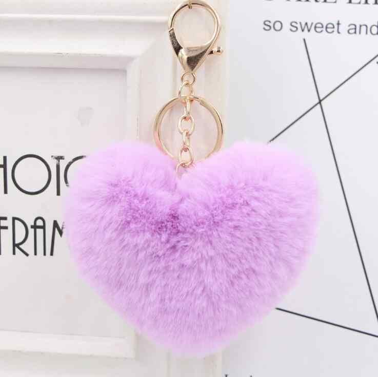 Llaveiro puszysty pompom breloki na prezenty dla kobiet miękkie w kształcie serca w kształcie serca Pompon fałszywy królik klucz kuleczka na łańcuszku do torby samochodu klucz akcesoriów pierścień