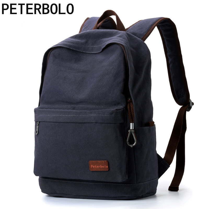 Peterbolo Men Canvas Backpack Vintage Mochila Casual Rucksack College Student School Backpack Bags for Teenagers girsl kid backpack ladies boy shoulder school student bag teenagers fashion shoulder travel college rucksack mochila escolar new