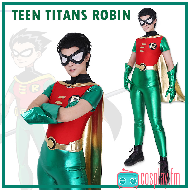 Robin Cosplay Costume Jumpsuit Cape Mask Gloves