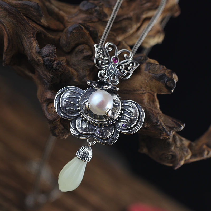 925silver ducts Listed on the new women's antique flavor restoring ancient ways do the old one with pearls hetian pendant цена и фото