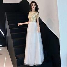 2019 Sequins Arabic Gold Long Evening Dress O Neck Short Sleeves Dubai Prom  Dresses 2019 Moroccan 5c5d12ab2647