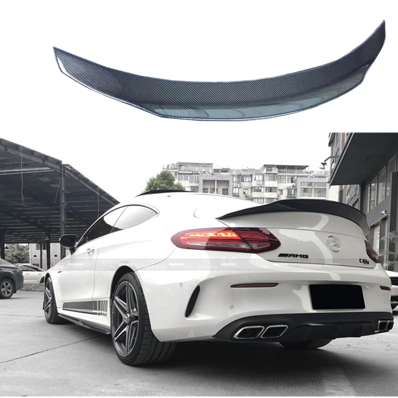 C Class W205 Carbon Fiber Rear Roof Spoiler For <font><b>Mercedes</b></font> Benz W205 <font><b>Coupe</b></font> 2015-2017 C63 AMG C200 C250 C180 <font><b>C300</b></font> C350 image