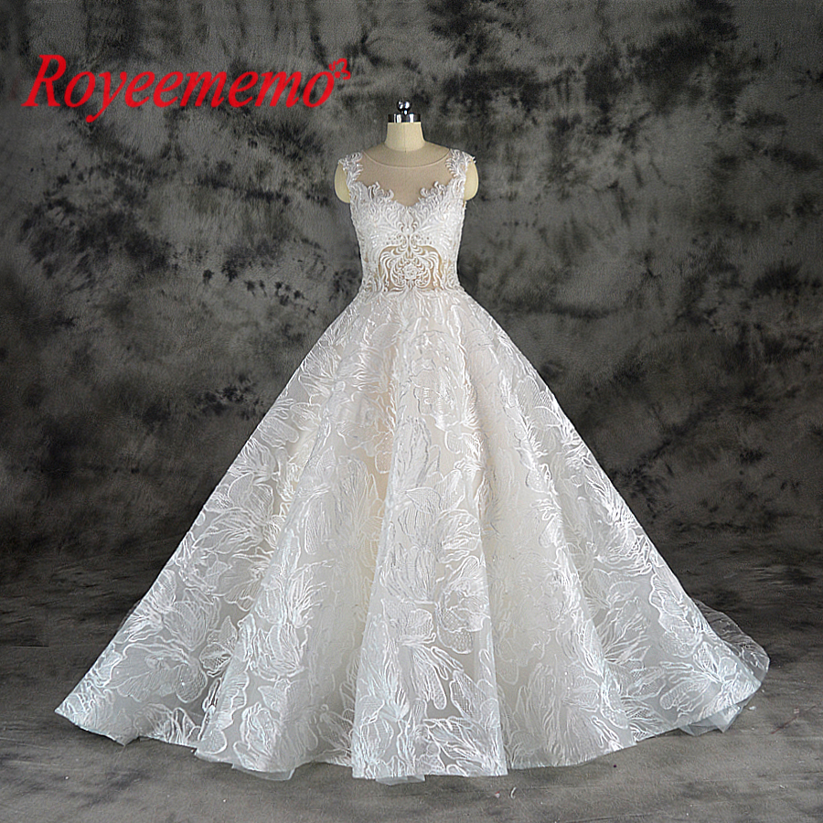 2019 new design lace ball gown wedding dress luxury Champagne and Ivory wedding gown custom made