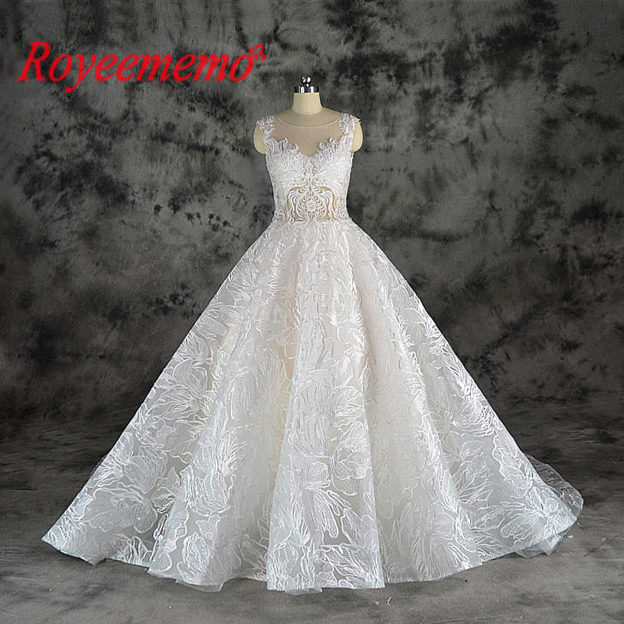 2019 New Design Lace Ball Gown Wedding Dress Luxury Champagne And