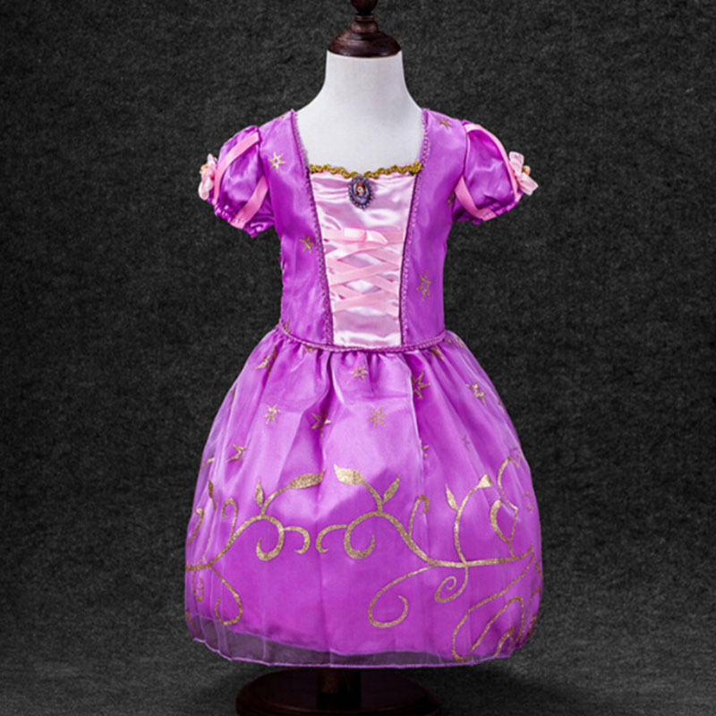 Boutique Kids Clothing 2017 Summer Costumes Girls Cosplay Party Dresses Princess Purple Pink Yellow Ball Gown Belle Dress