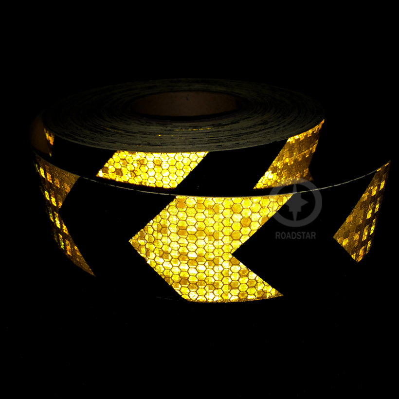 5cmx3m Shining Reflective Warning Self-adhesive Stikcer With Yellow Black Color Arrow Printing For Car