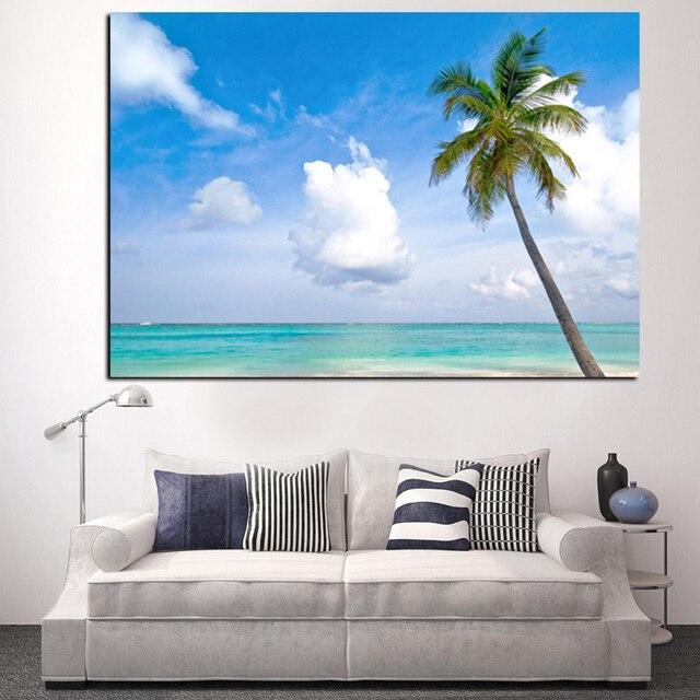 Koop strand zee kokosnoot palmboom zeegezicht landschap foto schilderij hd - Moderne kamer volwassen schilderij ...
