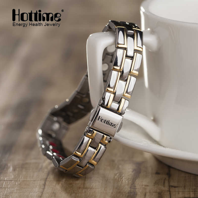 2019 Hottime New Fashion Men Jewelry Power Magnetic Titanium Bracelet Healing Male Bangle Free Shipping via AliExpress Standard