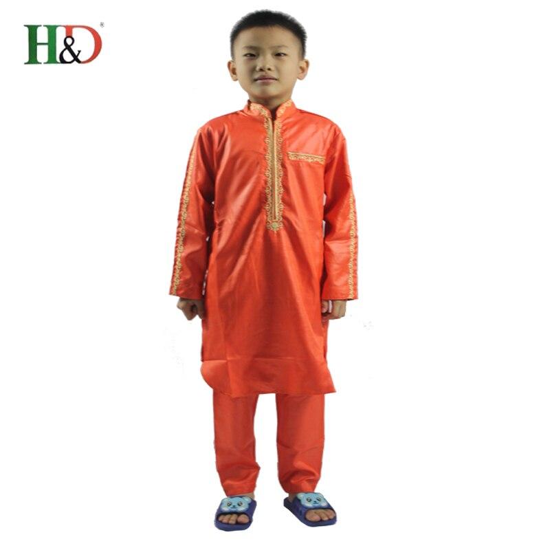 H & D niños africanos parte de arriba dashiki pantalones traje de 2 piezas conjunto chico ropa de los niños ropa