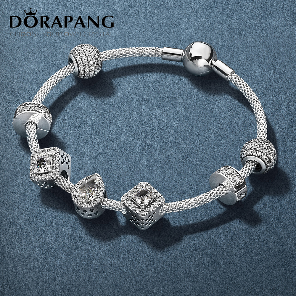DORAPANG 100% 925 sterling silver beads new charm crystal suit Fit bracelet diy bracelet lover gift factory wholesale dorapang 100% 925 sterling silver snake chain necklace fit charm beads for women fashion jewelry diy bracelet factory wholesale