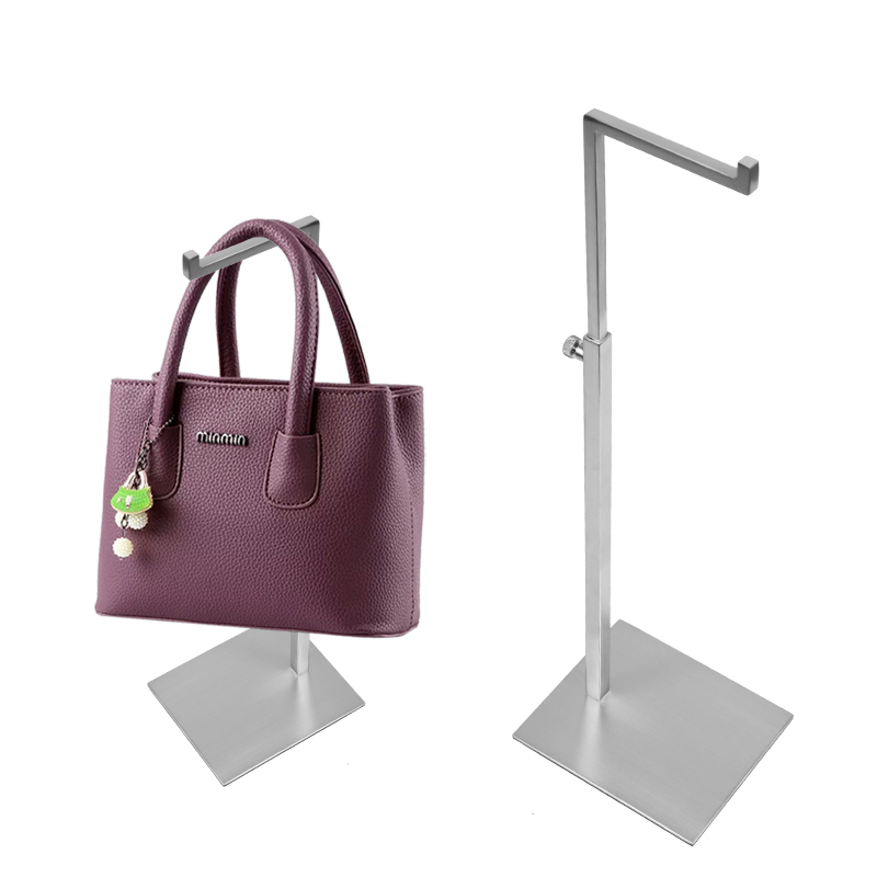 Linliangmuyu 7-shape High quality Matter Silver Metal Bag handbag Display Stand Holder Rack Adjustable Height BJ01-01 pop metal poster sign paper display advertising stand adjustable h 30to50cm in black surface catophoresis good quality 10 sets