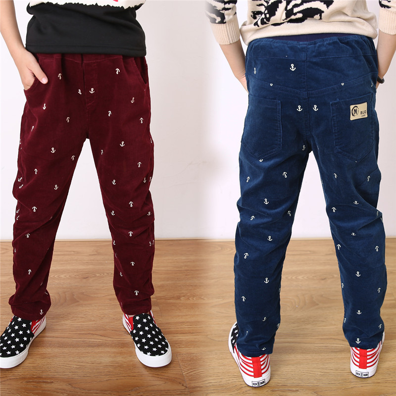 In The Fall Of 2017 Boys And Children Korean Fashion Small Anchor Pattern Corduroy Pants Pants On