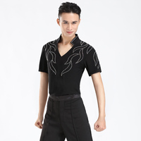 ballroom latin dance tops men black Short Long sleeve latin dance shirt man latin dance costume for competition men