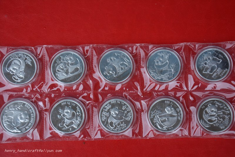 RARE Chinese <font><b>government</b></font>-issued United Nations level animal <font><b>protection</b></font>,Panda coin,10 pieces/pack,#03,Has a high collection value image